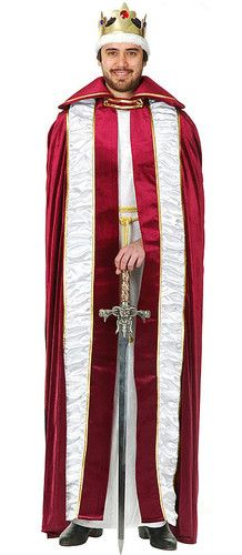 Mens King Robe Costume Renaissance Medieval Red Adult ...