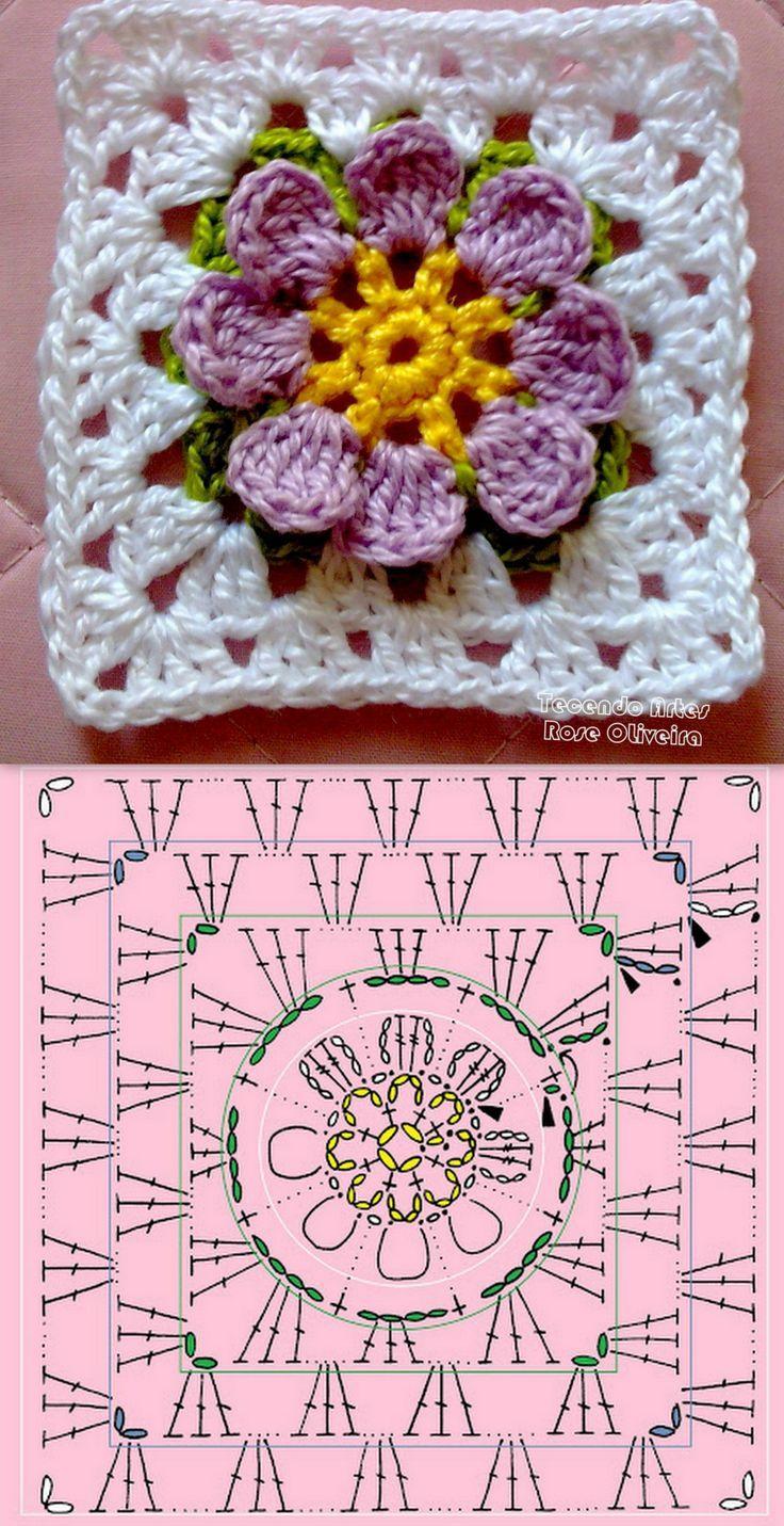 Square crochet ❥Teresa Restegui http://www.pinterest.com/teretegui/❥