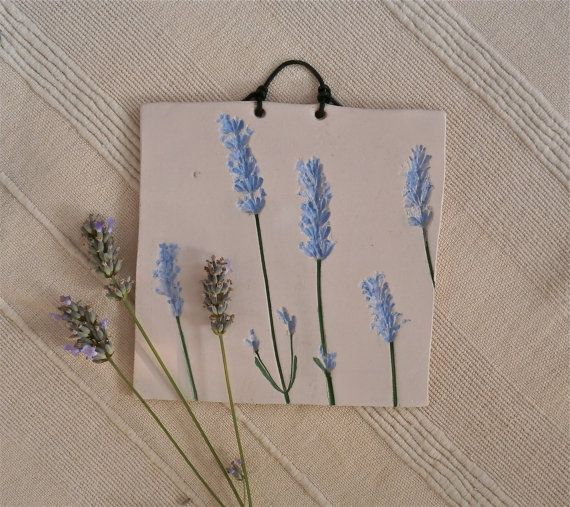 Lavender plaque Ceramic wall art with by BlueButterflyCrafts