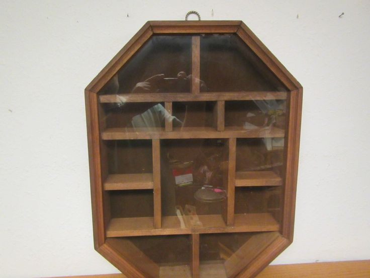 Octagonal Wood Curio shelf, Shadow Box, Display Case , with Glass Front ** 8 sided shelf by mauryscollectibles on Etsy