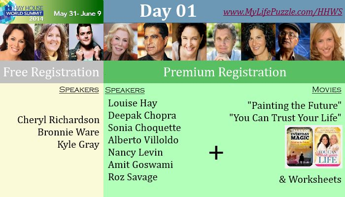 Enroll your name for #Hay #House #World #Summit 2014, the largest #online #event about #motivation at http://mylifepuzzle.com/hay-house-world-summit/  We have various renowned speakers for each day you can check the schedule of speakers  Register online for #Premium subscription get 2 #motivational #movies free 1. #Painting the #Future 2. You Can #Trust #Your #Life