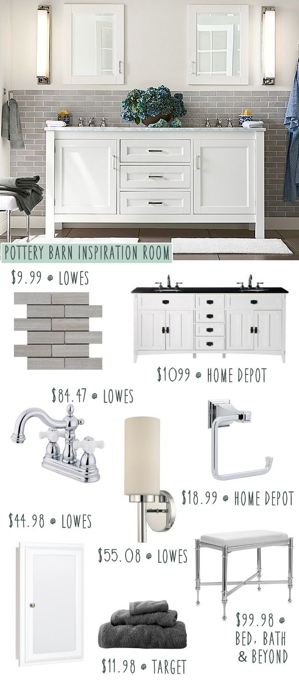 Pottery Barn bathroom on a budget! Love it!