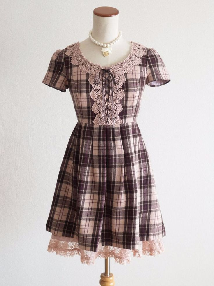 L'est RosePlaids Wool Corset Dress Japan Size M Romantic Lolita Hime Gal 803 #LestRose #Peplum #Shibuya109Lolitafashion