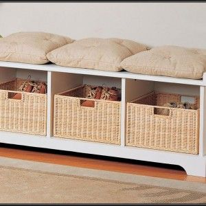 Wooden Storage Bench For Bedroom From Ikea With Cushions And Wicker Organizers