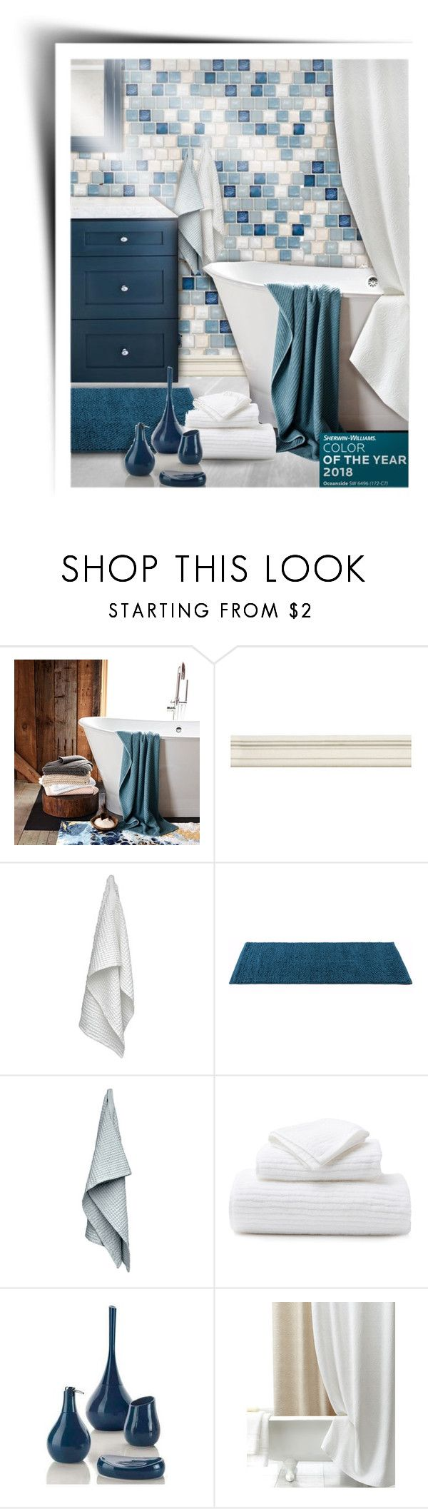 """""""Oceanside Bathroom"""" by kiki-bi ❤ liked on Polyvore featuring interior, interiors, interior design, home, home decor, interior decorating, Abyss, The Organic Company, Pigeon & Poodle and Nameek's"""