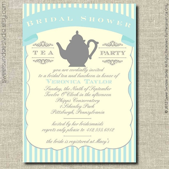 27 best tea party invitations images on pinterest tea parties bridal shower party invitation printable personalized green and cream stripes tea party bridal shower invite filmwisefo Image collections