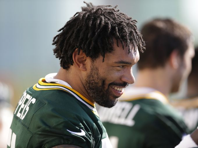 Green Bay Packers outside linebacker Julius Peppers at opening day of training camp 2016
