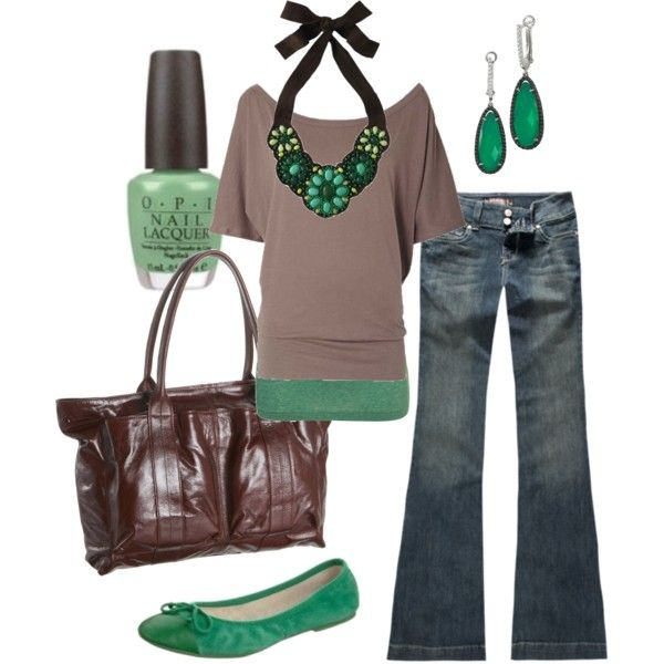 : Shoes, Colors Combos, Day Outfits, Style, Green Accent, Jeans, Nails Polish, Necklaces, Shades Of Green