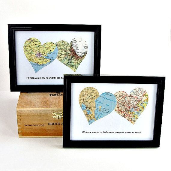 Personalized Vintage Map Art - pick two special places + add a quote to make a perfect gift for those near to your heart, but far away /by salvagedstudiomke on Etsy / personalized gifts / long distance relationship gift / long distance boyfriend gifts / long distance friendship / long distance sisters gift / long distance mother daughter gifts / ldr gift