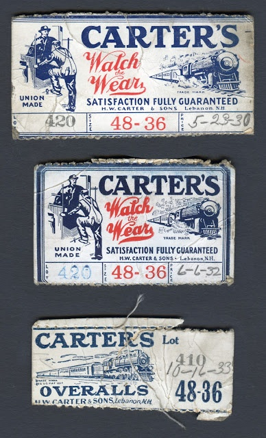 Union-Made: Early 1930s Carter's Overalls Waistband Size Tags