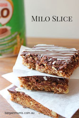 milo slice           I love slices, they are so easy to make and are perfect for lunch boxes.  This Milo slice is..