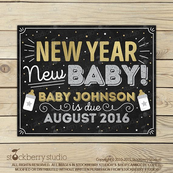 New Years Pregnancy Announcement Cards by stockberrystudio on Etsy