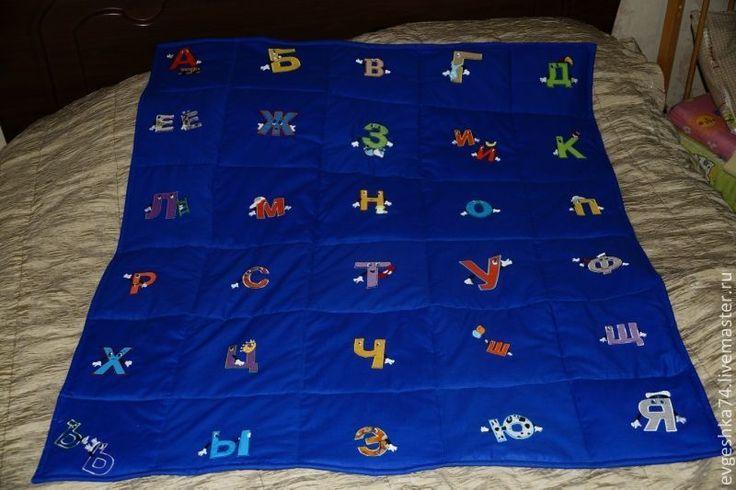 одеяло с алфавитом - темно-синий,рисунок,одеяло с алфавитом,детское одеяло