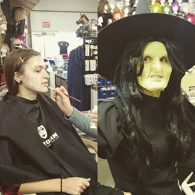 Want to learn how to create a transformation like this? We have a #workshop for that!  Foam prosthetic application. Sign up online at theatregarage.ca or call 780.498.6208.  Workshop is October 15th, 6-9pm. #prosthetics #mua #makeup #yegcostumes #Halloween #scarywitch