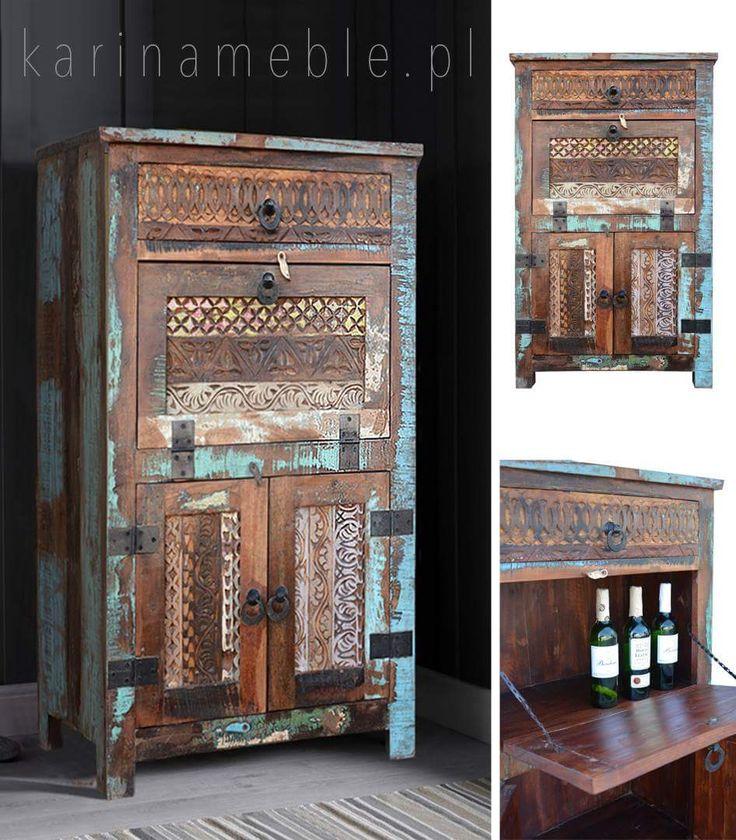 """Komoda z barkiem z kolekcji """"Yasmin"""" to znakomity mebel do salonu - pojemy i niezwykle urodziwy. Zrobione z drewna z recykling, ta kolorowa komoda idealne pasuje do salon lub do jadalnia. Meble loftowe bezpośrednie prowadzone z indii."""