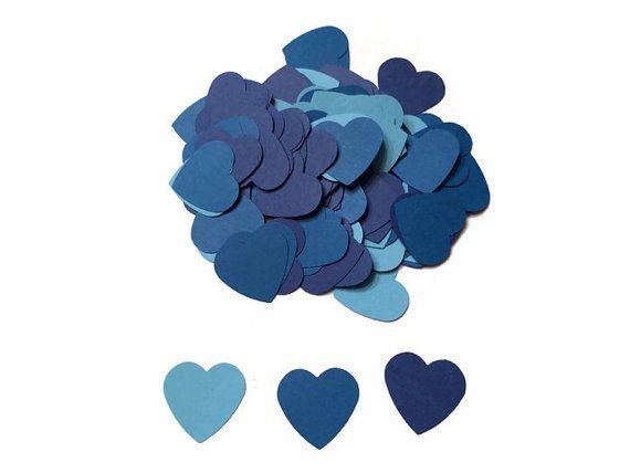 100 Assorted Blue Heart Confetti, Wedding Confetti, Die Cut Hearts, Baby Shower, Teal Hearts, Bridal Shower, Wedding Throw, Table Decor