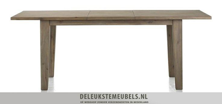 Deze uitschuiftafel Bandon op 160x90cm van Happy@Home is een aanwinst voor jouw interieur! Uitgeschoven is hij 210cm. Het blad trek je uit elkaar waardoor er dus een extra stuk tussen geschoven kan worden. Het blad zit onder de tafel in het midden dus die hoef je niet ergens anders op te bergen. De poten lopen iets taps toe waardoor er ook nog een speels effect ontstaat! Snel leverbaar! http://www.deleukstemeubels.nl/nl/bandon-uitschuiftafel-160--50-cm/g6/p1159/