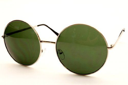 """Oversized Round Circle Vintage Retro Metal Sunglasses V115 (silver - green lens, uv400) Style Vault. $8.95. Lens width: - . plastic lens. Overall  Size: Width x Height   5  7/8"""" x 2  3/8"""" ; 15cm x 6cm. metal frame. 100% UV Protection. FREE Pouch with Purchase. non-polarized. FREE U.S Domestic shipping on any 2 pairs with code: CZNLDGR4"""