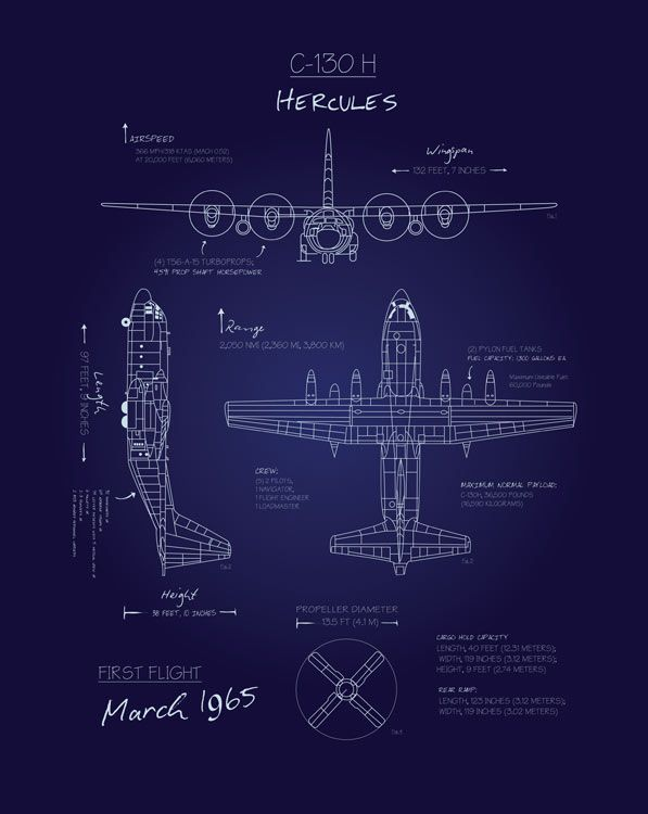 Share Squadron Posters for a 10% off coupon! C-130H Blueprint Art #http://www.pinterest.com/squadronposters/