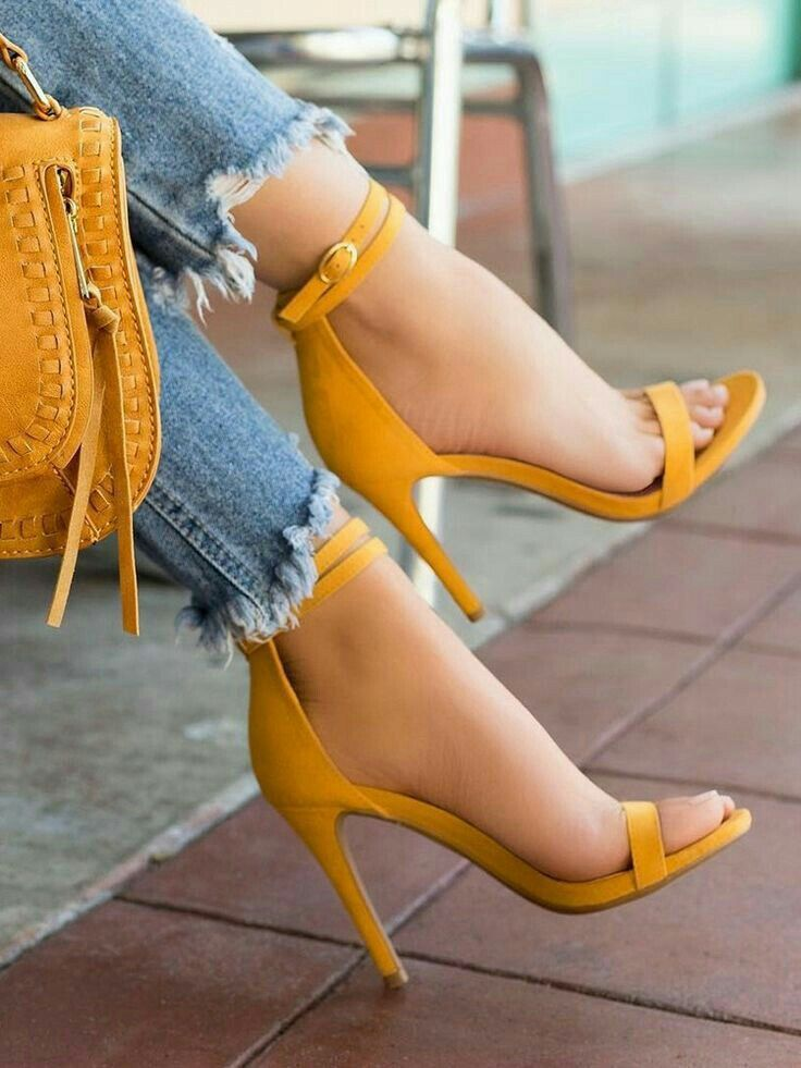 Mustard Yellow Sandals With Heel  d82bbe47ccf