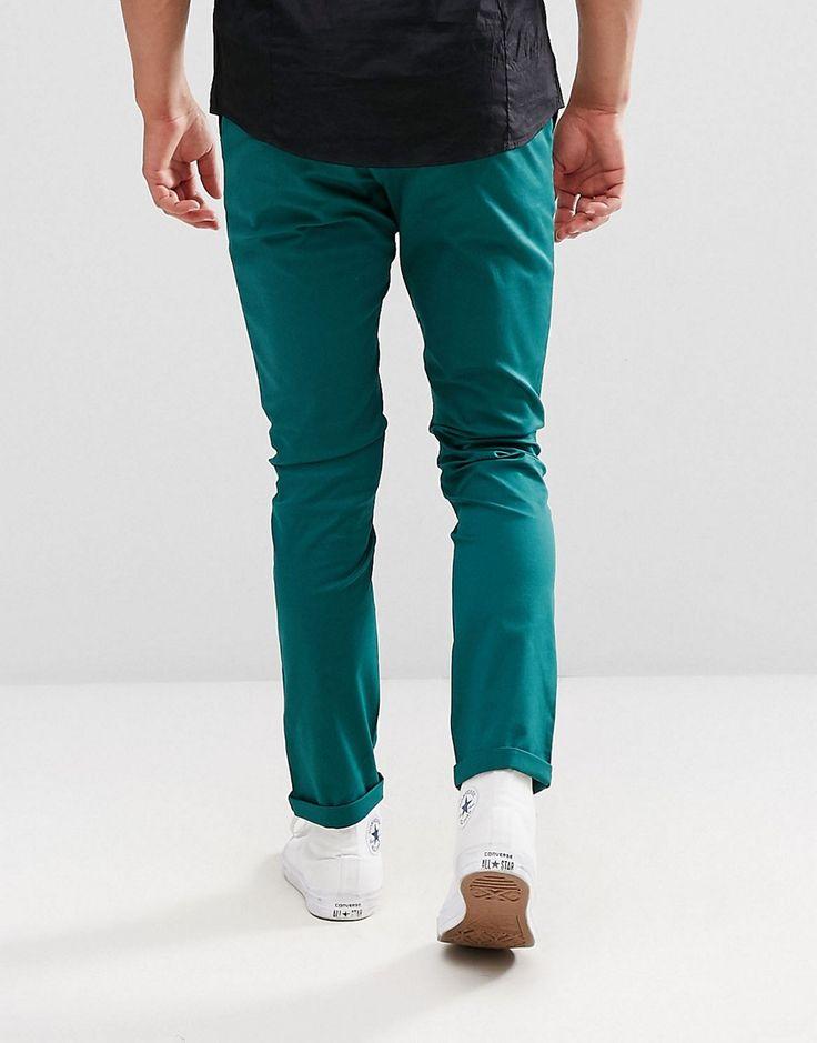 ASOS Skinny Chinos In Dark Teal - Green
