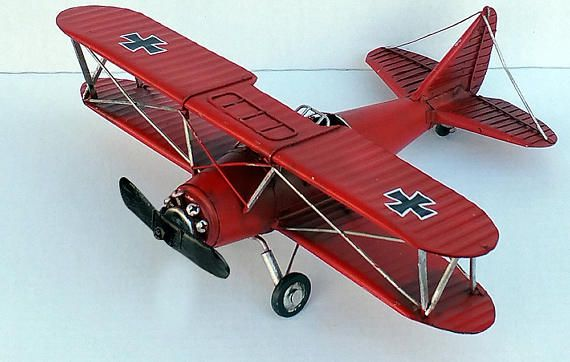 Red Baron bi-plane with black cross Albatross D-III tin model