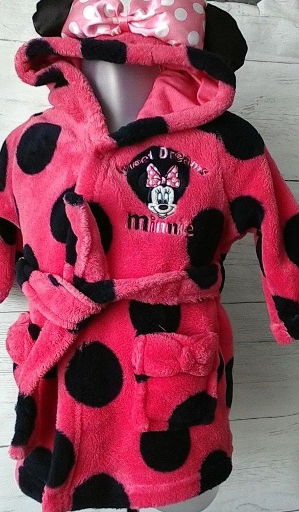 Baby Girls Minnie Mouse Dressing Gown Robe with Hood Pink Black 3-6 months   a5cd3bc92