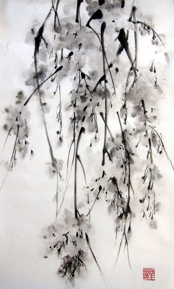 "Japanese Ink Painting on Rice Paper, 13x20 inch,Suibokuga,Sumi-e Black and White  - ""Sakura#5"" on Etsy, $73.91 CAD"
