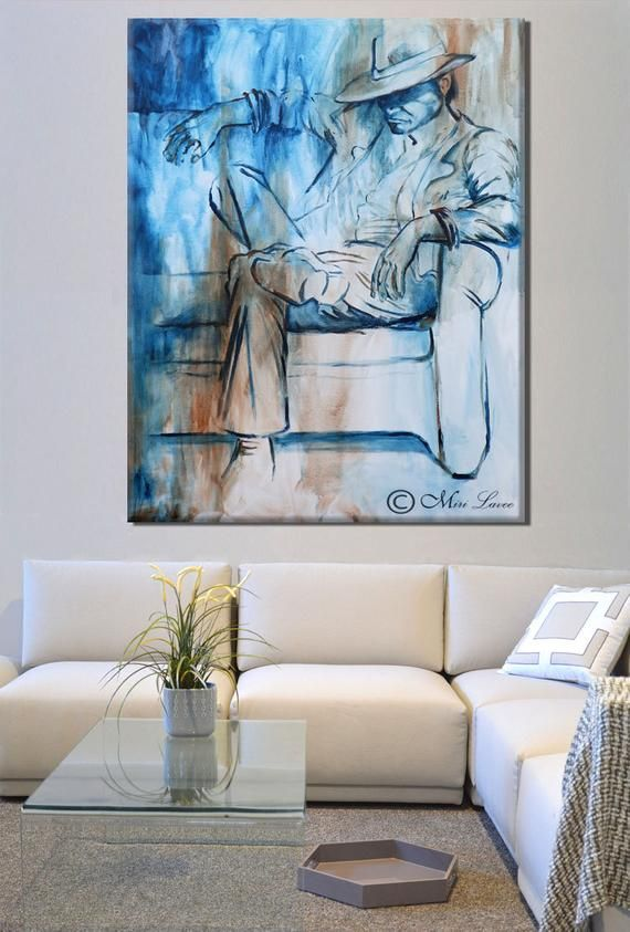 Oil Painting Blue Painting For Living Room Wall Art Etsy Etsy