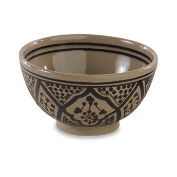 Black Ida Moroccan Bowl: These pretty Ida stoneware bowls are handmade in Morocco. Each one has been skilfully hand painted in these traditional north African designs.  The stoneware has a strong thermal resistance and each bowl is microwave and dishwasher safe. Care Instructions: Microwave, Oven and Dishwasher Safe Choose from two colours or mix and match for an eclectic look.