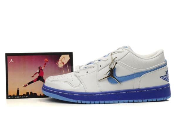 2229 Mens White Blue Air Jordan Retro 1 Low Shoes Sale 47511