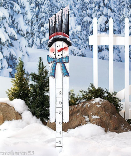 "Snowman Snow Measuring Guage 2""-12"" Wooden Painted Art Design In Stock NEW"