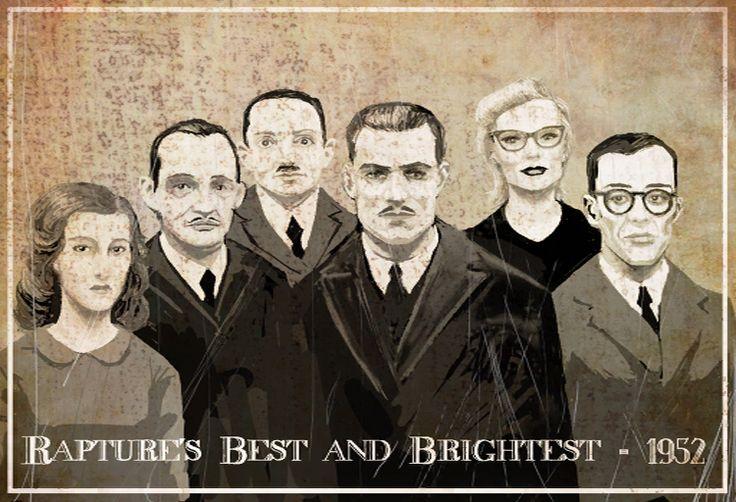 The Elite of Rapture Society in 1952: (left to right) Brigid Tenenbaum, Sander Cohen, Gilbert Alexander, Andrew Ryan, Sofia Lamb, and Yi Suchong.