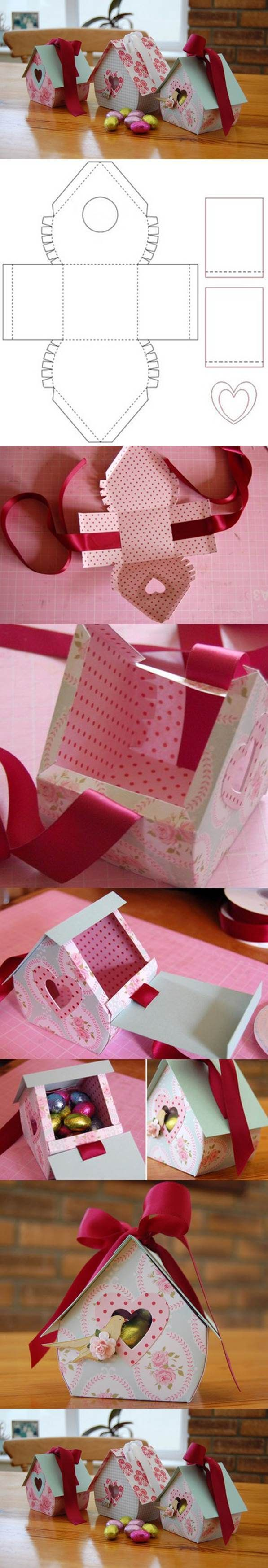 Craft your love bird a diy bird house gift box this St. Valentine's out of paper, glue & ribbon.