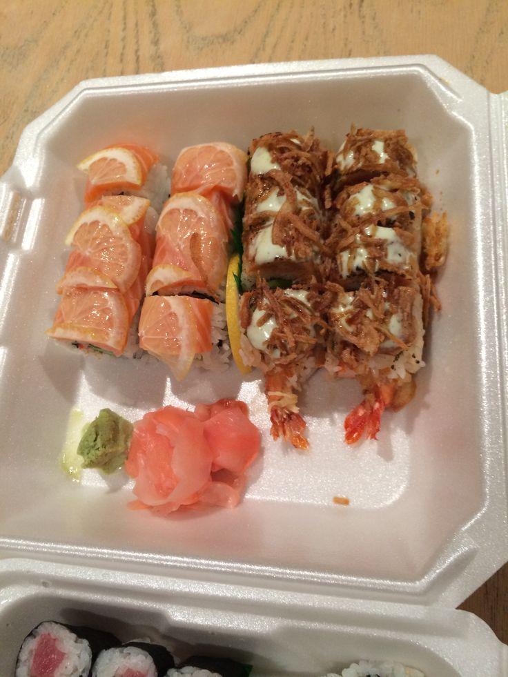 Sunset Roll (left) and the Shrek Roll #sushi