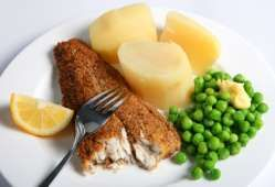 Fried mackerel fillets with oatmeal - Oatmeal is historically an important ingredient in the Irish store cupboard - we cook it with water or milk and call it porridge and ate it for breakfast. Here the raw oatmeal is used to cook mackerel fillets to give a crunchy topping..... from RECIPES::Irish Food