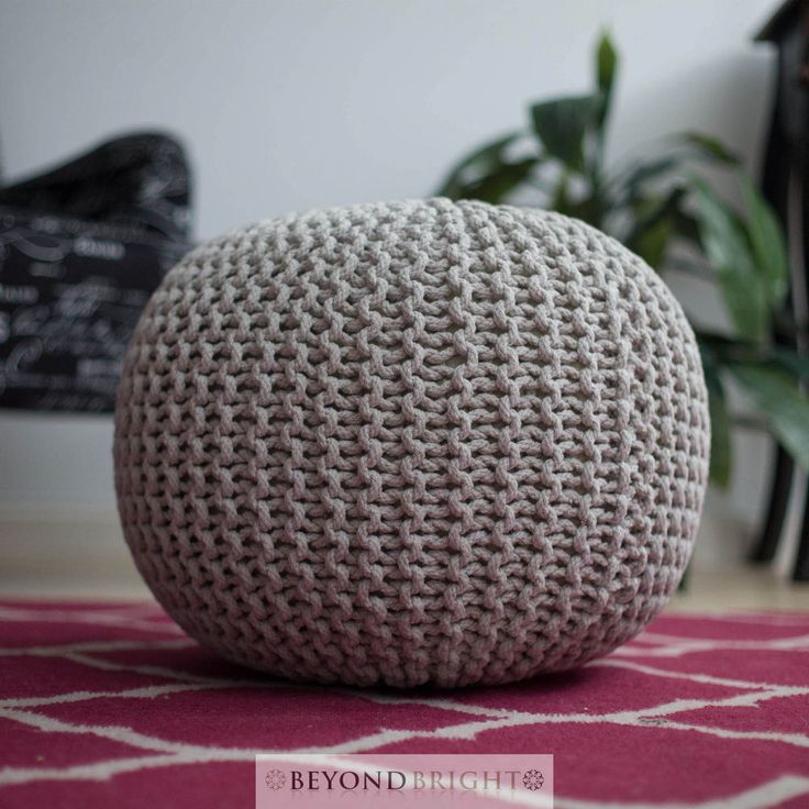 Knitted Gumball Light Grey Hand Made Poof Pouffe Ottoman