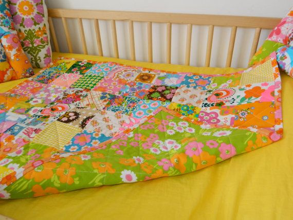 Neon vintage cot quilt - available via Etsy