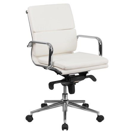 Flash Furniture Mid-Back Leather Executive Swivel Office Chair with Synchro-Tilt Mechanism, Mulitple Colors, White