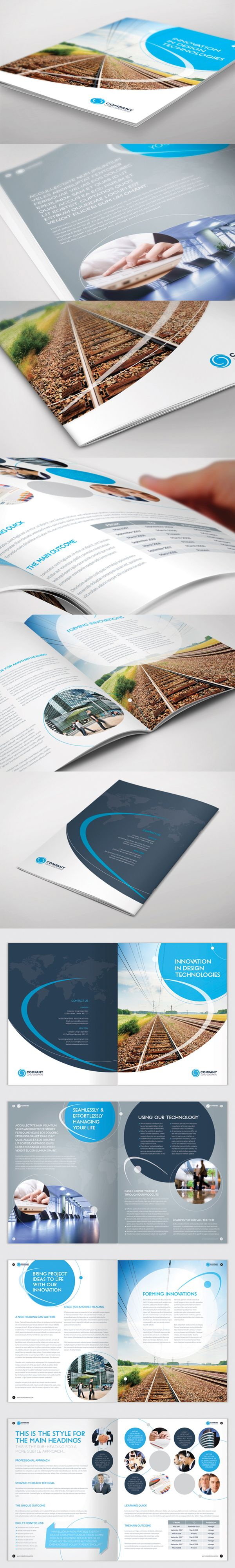 Brochure Template - InDesign 8 Page Layout 01 by BoxedCreative , via Behance
