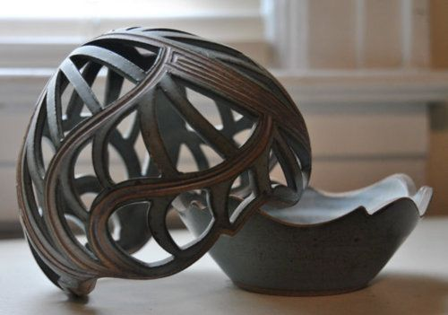 Hand-cut filigree pottery candle holder  AJFSwenson on Etsy