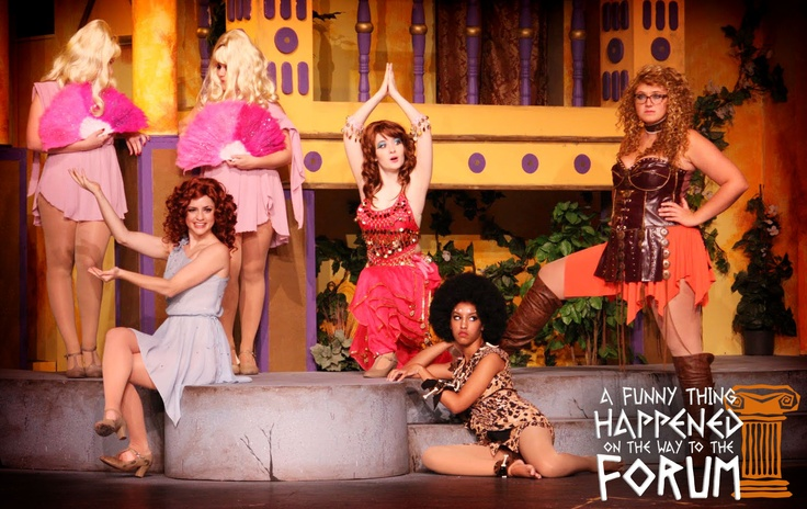 "Happy Hump Day from the Courtesans! Join these lovely ladies tonight when ""A Funny Thing Happened on the Way to the Forum"" continues at 7:30pm."