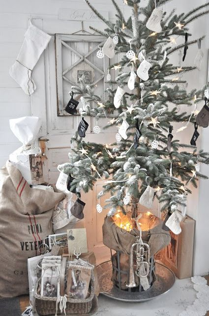 Ok-I LOVE This:-) The Lights are in the Tree Stand Bucket!! We have a Beautiful Silver retro Tree for this year & I don't want to put lights ON it...I will put them in the Bucket Stand!! Awesome:-)