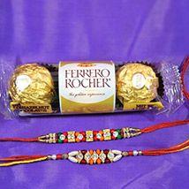 Rakhi pair with 3pc Ferrero