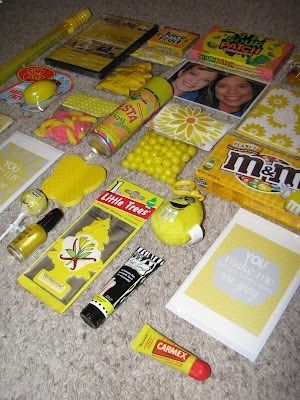 "Gift idea for anyone who is having a tough time. ""box of sunshine"" - maybe not the same items, but love the yellow theme box of sunshine idea"
