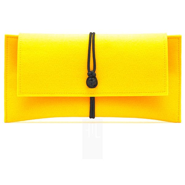 Yellow soft felt clutch bag with black paracord closure, handmade only... (175 BRL) ❤ liked on Polyvore featuring bags, handbags, clutches, yellow, yellow handbag, mini purse, miniature purse, man bag and hand bags