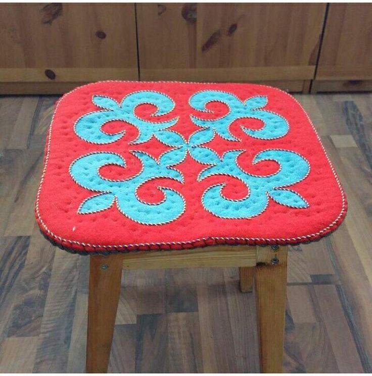 red Felt wool pads shyrdak rug central asian rug felt table mats by CentralAsianBazaar on Etsy