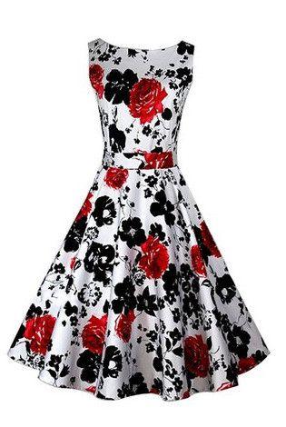 Red Belted Floral Vintage Dress