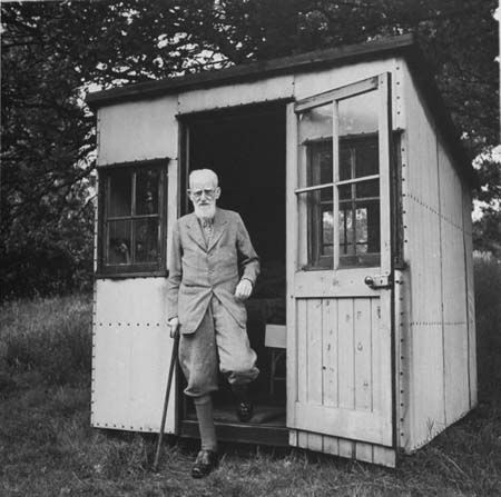 Irish playwright George Bernard Shaw did like writing in this little 8×8 shed, from what I gather, sometimes referred to as his summer house. It was built with casters on a circular track so it could be rotated in relation to the sun. It was also wired for an electric heater and typewriter. For more info, visit the National Trust.