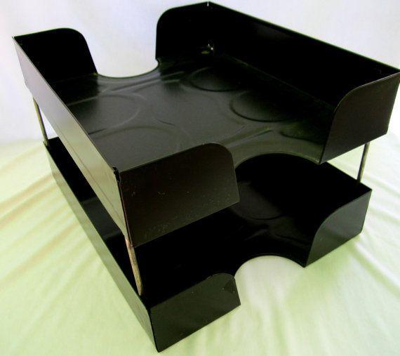Two Tier Black Metal File Folder Desk Organizer by GoshenPickers